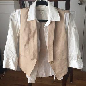 Banana Republic Vest and White Button Up Set